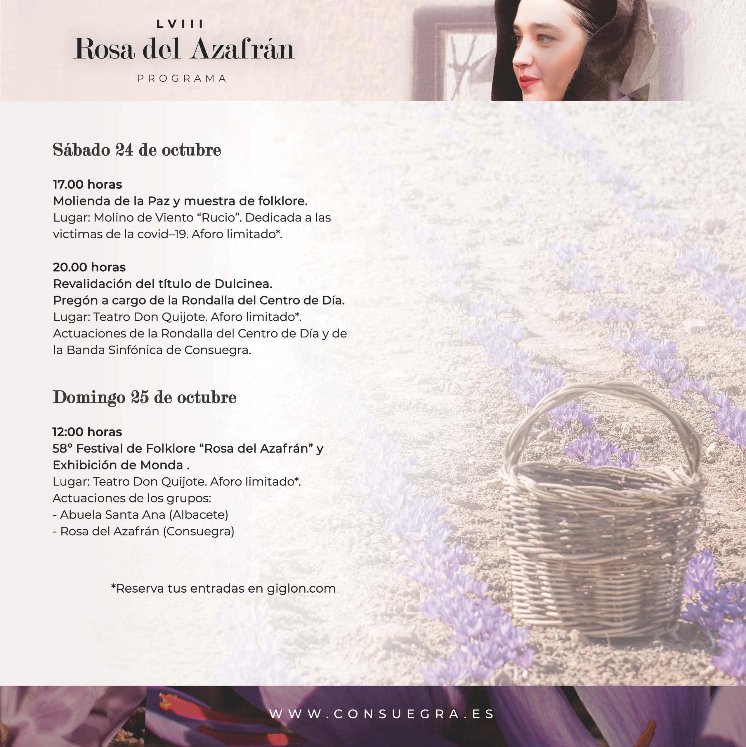 Programación XVIII Rosa del Azafrán 24 y 25 de octubre de 2020